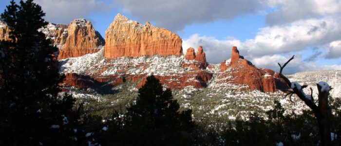 Sedona Arizona Red Rocks covered in snow
